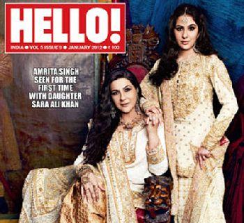 Amrita Sing & putrinya Sara Ali Khan di cover majalah Hello India