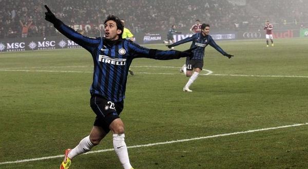 Foto: Selebrasi gol Diego Milito ke gawang Milan/Reuters