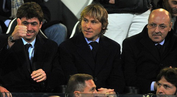 Andrea Agnelli, Pavel Nedved dan Giuseppe Marotta (Foto: Getty Images)
