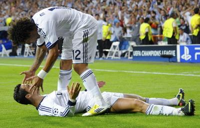 Selebrasi CR7 usai mencetak gol kemenangan Madrid (Foto: Reuters)