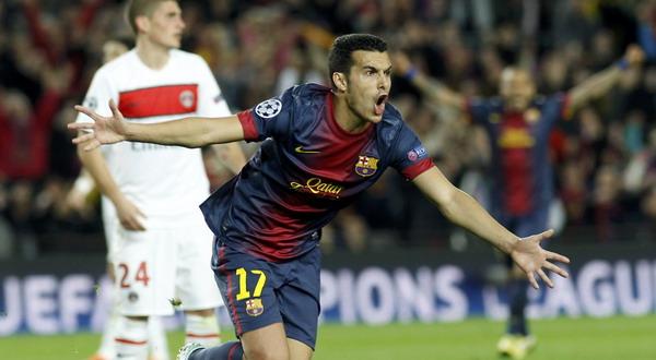 Pedro Rodriguez merayakan gol yang membuat PSG tersingkir dari panggung Liga Champions (Foto: Reuters)