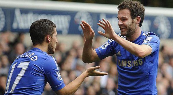 Dua pemain Chelsea, Eden Hazard dan Juan Mata. (Foto: Telegraph)