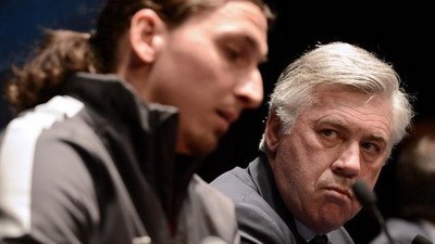 Zlatan Ibrahimovic dan Carlo Ancelotti (foto: Reuters)