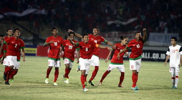 Para pemain Indonesia merayakan kemenangan (Foto: SINDO)