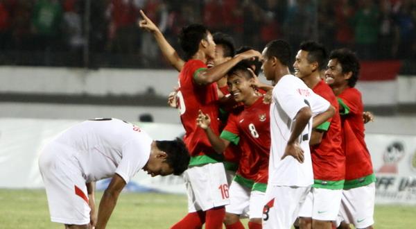 Pemain Timnas U-19 saat merayakan kemenangan atas Timor Leste di semifinal (Foto: SINDO)