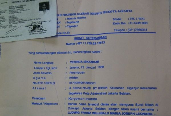 Surat pengantar nikah Jessica Iskandar (Foto: Alan)