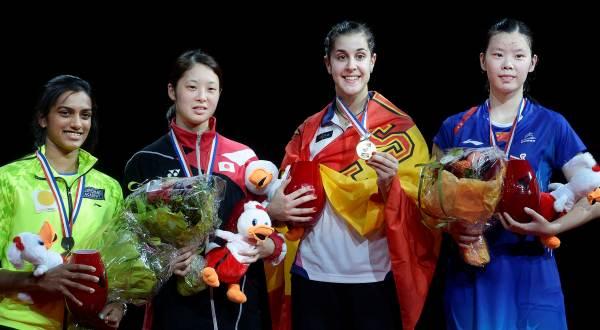 Carolina Marin (kedua dari kanan) sabet gelar tunggal putri di Kejuaraan Dunia BWF 2014 (Foto: Liselotte Sabroe/REUTERS)