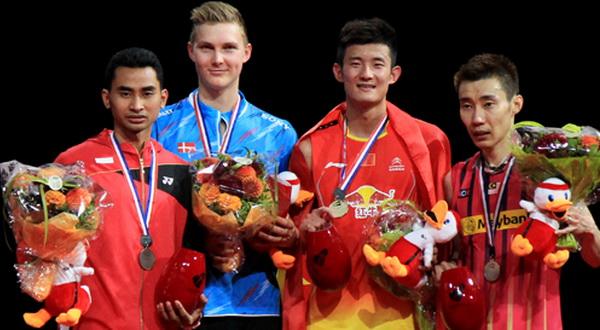Para pemenang di sektor tunggal putra di kejuaraan BWF World Championship 2014. (Foto: Badmintonindonesia.org)