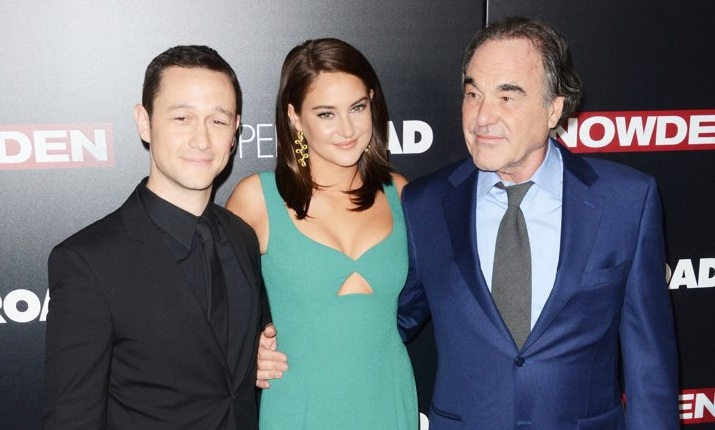 Levitt, Woodley, dan Stone Tampil Kompak saat Gala Premiere Film Snowden. (Foto: Aceshowbiz)