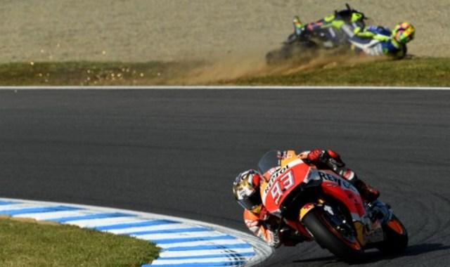 Marc Marquez vs Valentino Rossi (Foto: AFP)