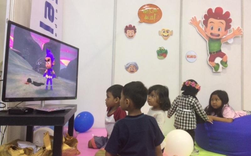 Anak-Anak sedang menonton (Foto: Sarah/Okezone)