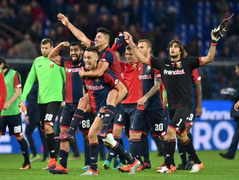 Ekspresi Genoa usai taklukan Juventus. (Foto: The Sun)