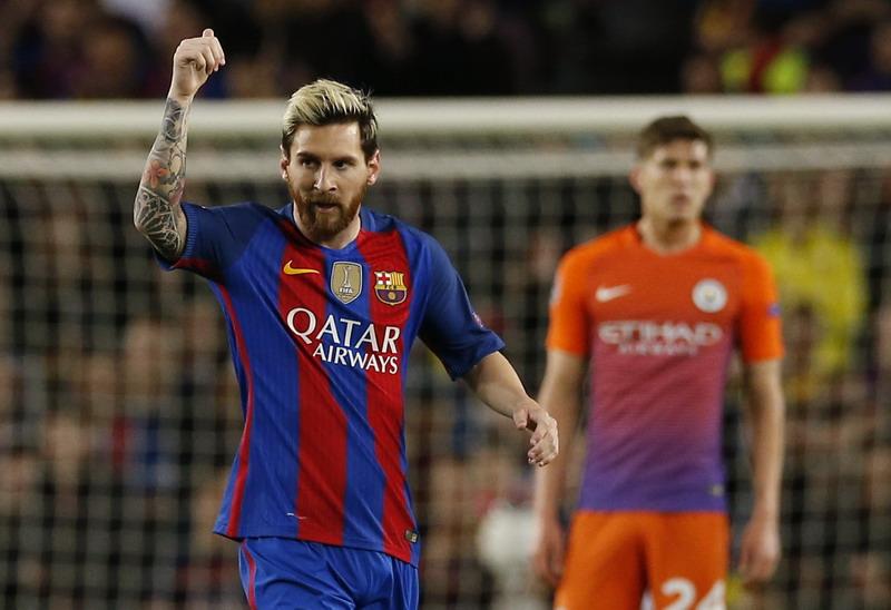 Keran gol Messi sedang tertutup. (Foto: REUTERS/Albert Gea)