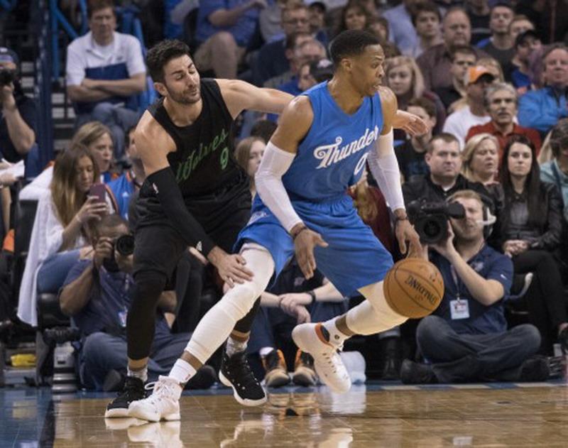 Russell Westbrook bawa Oklahoma raih kemenangan. (Foto: AFP/J Pat Carter)