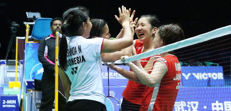 Greysia/Nitya dan Fukuman/Yonao usai mencetak pertandingan terlama (Foto: PBSI)