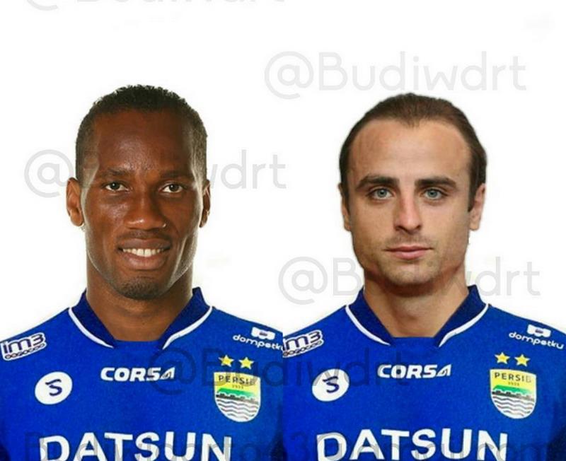 Foto editan Drogba dan Berbatov dalam seragam Persib. (Foto: @budiwdrt)