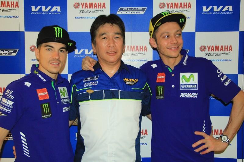 Valentino Rossi dan Maverick Vinales saat berkunjung ke Indonesia. (Foto: Yamaha)