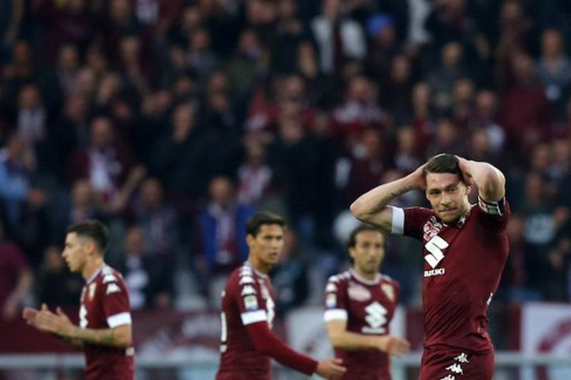 Belotti tumpul saat Torino ditahan Inter 2-2. (Foto: AFP/Marco Bertorello)