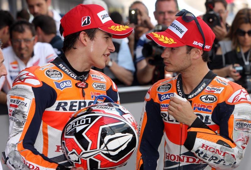 Marc Marquez dan Dani Pedrosa. (Foto: AFP)