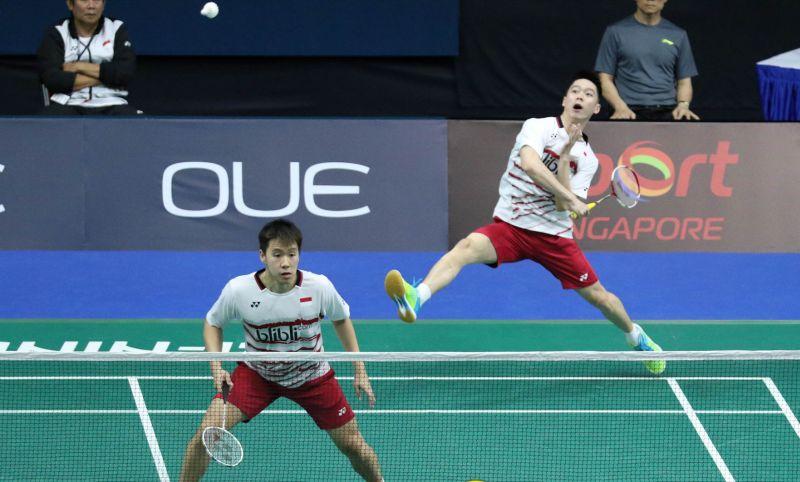 Ganda putra Indonesia, Marcus Fernaldi Gideon/Kevin Sanjaya Sukamuljo di Singapura Open 2017 (Foto: PBSI)