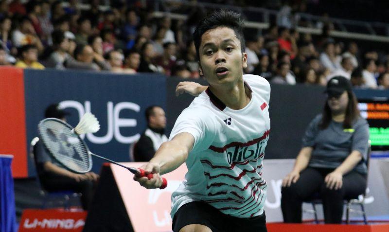 Tunggal putra Indonesia, Anthony Sinisuka Ginting di Singapura Open 2017 (Foto: PBSI)
