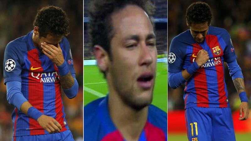 Neymar nangis usai Barcelona disingkirkan Juventus. (Foto: Marca)