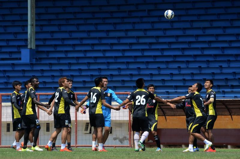 Skuad Mitra Kukar saat menjalani latihan. (Foto: ANTARA/Sahrul Manda Tikupadang)