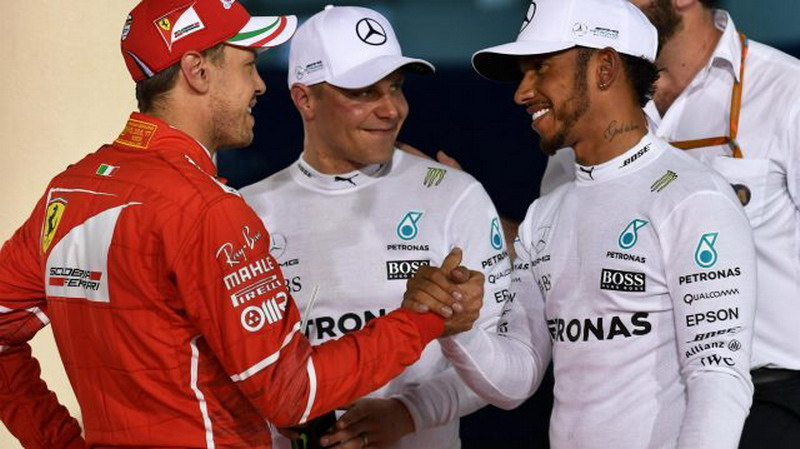 Sebastian Vettel bersama duo Mercedes (Foto: Situs Resmi Formula1)