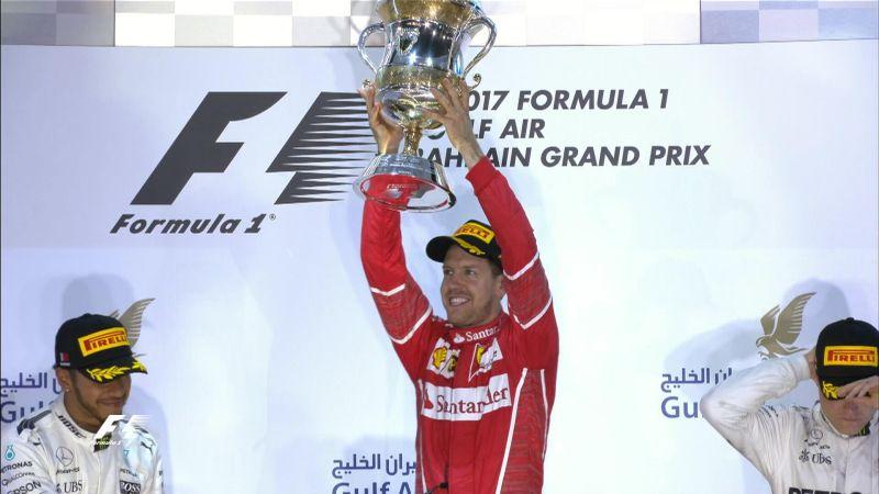 Sebastian Vettel ketika menjuarai GP Bahrain (Foto: Twitter F1)
