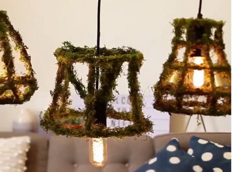 Begini Uniknya jika Kerangka Lampu Meja Tua Disatukan dengan Lumut Daun