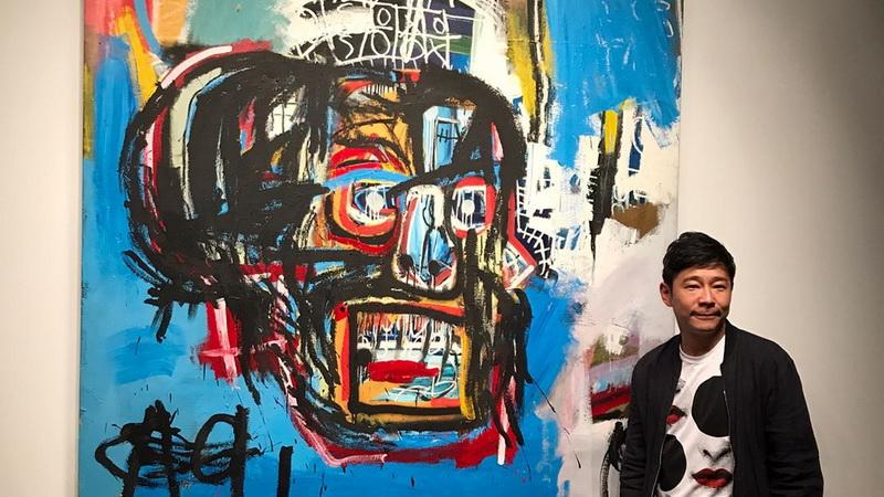 Lukisan Jean Michel Basquit berjudul Untitled dan pembelinya, Yusaku Maezawa (Foto: Instagram)