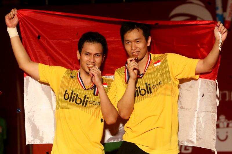 Ahsan/Hendra wakil terakhir Indonesia yang juara Indonesia Open. (Foto: Heru Haryono/Okezone)