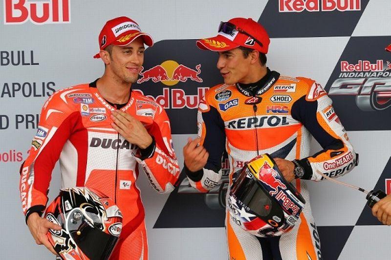 Pembalap Tim Ducati Corse, Andrea Dovizioso (kiri) dan Pembalap Tim Repsol Honda, Marc Marquez (Foto: MotoGP)