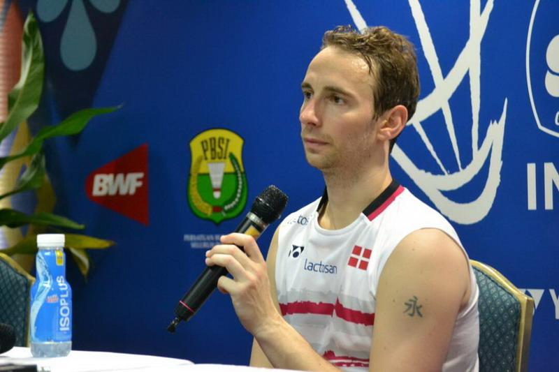 Mathias Boe saat konferensi pers di Indonesia Open. (Foto: Bagas Abdiel/Okezone)
