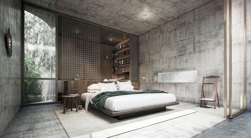 Dekorasi Kamar Tidur dengan Dinding Beton Alami, Hasilnya Bikin Penasaran!
