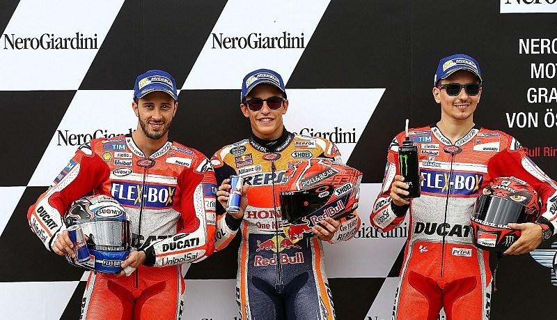 Andrea Dovizioso, Marc Marquez dan Jorge Lorenzo. (Foto: Motorsport)