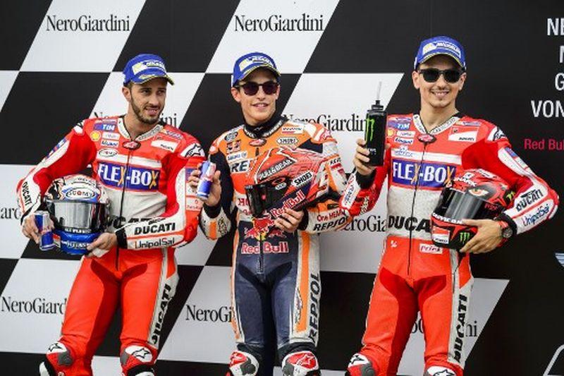 Andrea Dovizioso, Marc Marquez dan Jorge Lorenzo (Foto: AFP)