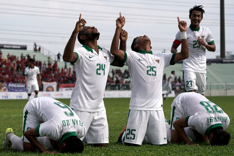 Timnas Indonesia U-22 saat mengalahkan Timor Leste. (Foto: ANTARA/Sigid Kurniawan)