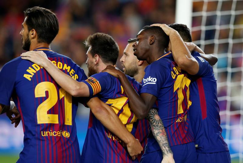 Skuad Barcelona (Foto: Albert Gea/Reuters)