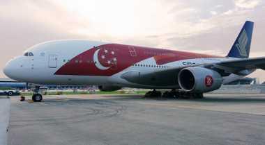 Bendera Singapura Hadir di Bodi Pesawat Singapore Airlines