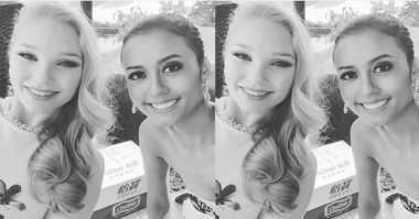 Cantik, Maria Harfanti Selfie Bareng Miss Islandia
