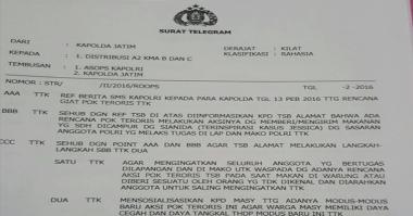 Beredar Telegram Rahasia Teroris Incar Polisi dengan Sianida