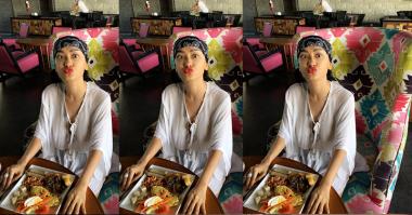 FOTO: Liburan di Bali, Baju Putih Jupe Menerawang