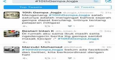 Tagar 10thGempaJogja Jadi Trending Topic di Media Sosial