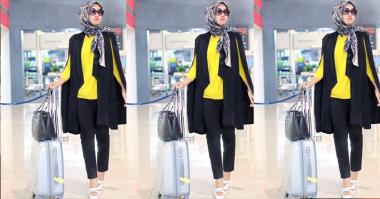 FOTO: Black-Yellow, Gaya Dian Pelangi di Airport