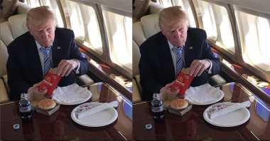 FOTO: Donald Trump pun Suka Makan Fast Food