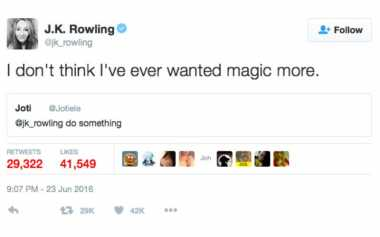 Gara-Gara Brexit, JK Rowling Tak Mau Ada Sihir Lagi