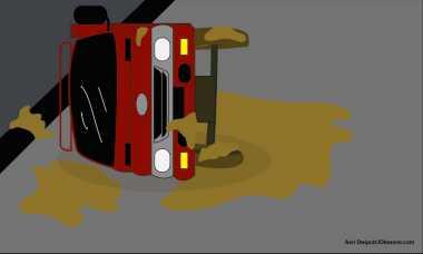 Truk Terguling di Tol Cikampek Arah Jakarta, Kendaraan Mengular