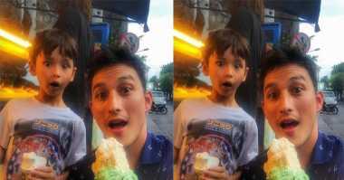 FOTO: Muka Lucu Kenzou, Anak Mike Lewis saat Makan Gelato