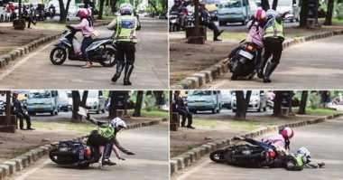 HOT THREAD (4): Hindari Tilangan, Perempuan Ini Malah Jatuh bersama Polisi
